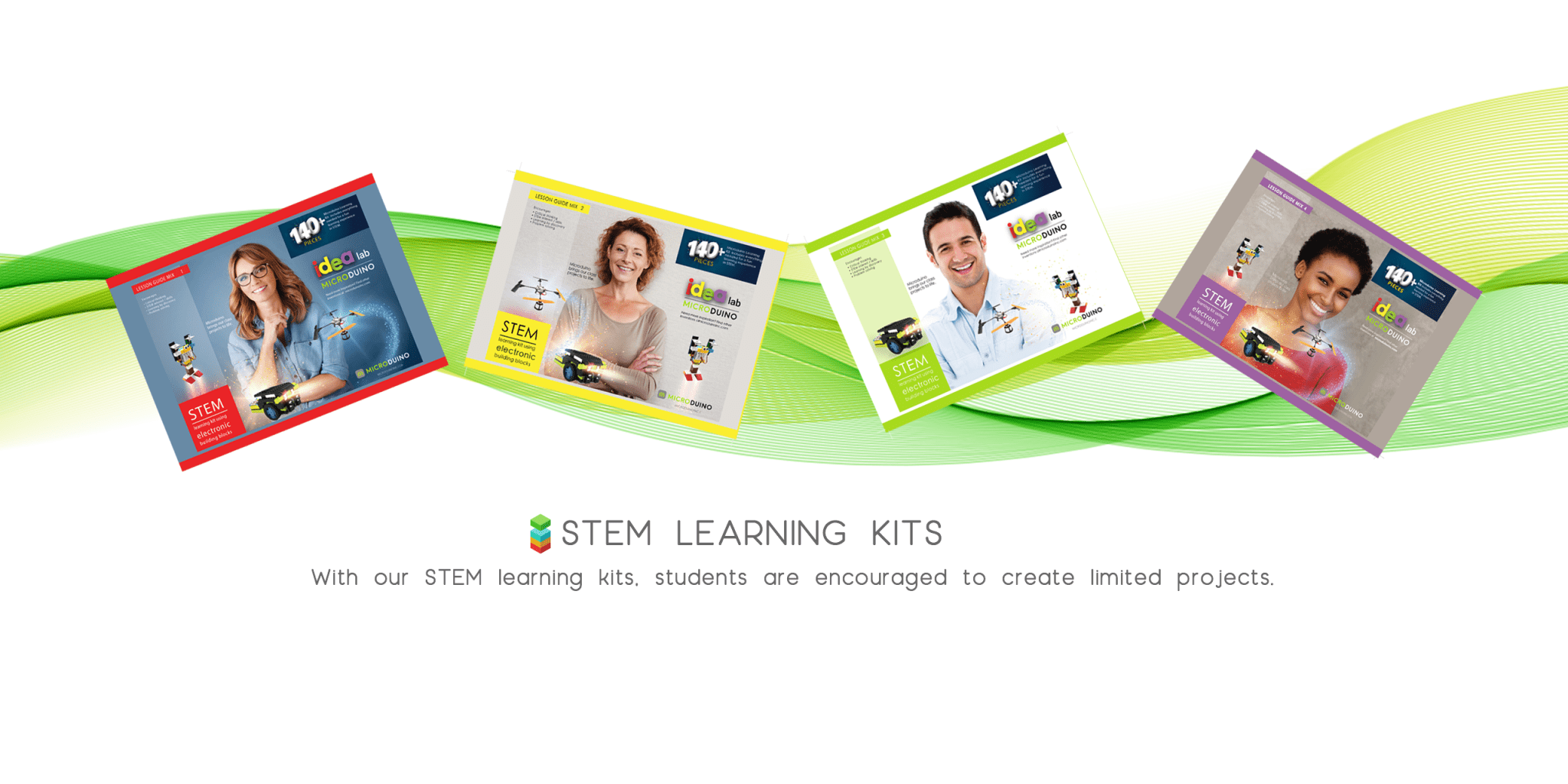 STEM learning kits for use in classrooms.